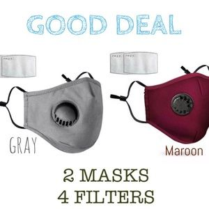 Accessories - 💥DEAL💥 2 Cotton Face Covers gray wine + 4 Filter